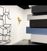 Art Basel Miami Beach 2018, Al Held, B/W XIV, 1968 (left), Lynda Benglis, NAR, 1980 (centre), Sean Scully, Stack Greys, 2018 (right). Installation view, Art Basel Miami Beach 2018. Photo: Jill Spalding.