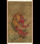 <em>Bodhidharma Crossing the Yangzi River on a Reed</em>. Painter unknown. Japanese, Nanbokucho period (1336–1392). Hanging scroll, ink, colors, and gold on silk; 69.0 x 40.6 cm. Museum of Fine Arts, Boston, William Sturgis Bigelow Collection, 11.6312. Photograph © 2007 Museum of Fine Arts, Boston.