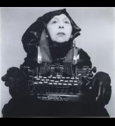 Geta Brătescu. Doamna Oliver în costum de călătorie (Lady Oliver in her travelling costume), 1980–2012. Black and white photograph. Courtesy Galerie Barbara Weiss, Berlin.