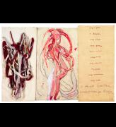 Louise Bourgeois. I Go to Pieces: My Inner Life (#6), 2010. Etching, watercolour, gouache, ink, pencil and coloured pencil on paper with fabric relief and embroidered fabric on panel, 156.5 x 226 cm (61 5/8 x 89 in). © The Easton Foundation/VAGA, New York/DACS, London 2016. Courtesy Hauser & Wirth.
