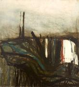 William Crozier. (Untitled) Landscape, 1958. Oil on board, 97 x 71.5 cm. Private collection courtesy Piano Nobile, London.