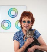 Judy Chicago with star cunts and Pete the cat.