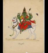 Durga, company Style, Tanjore School, c 1820, watercolour on hand-laid European paper.