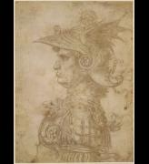 Leonardo da Vinci. <em>Warrior</em>, around 1480. Silverpoint on prepared paper. A virtuoso piece probably made by the young Leonardo to show off his artistic skill to prospective clients. Copyright the Trustees of the British Museum.