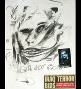 George Gittoes. <em>Fear.com</em>, 2002. Drawing: pencil, NY newspaper cutting, on paper, 72.5 cm x 57.5 cm. Collection of Artist.