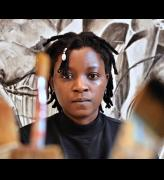 Kudzanai-Violet Hwami in her studio at Gasworks, London, 2019.