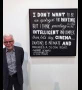 Peter Hill at the opening of Geelong Art Prize 2016, with his painting In Advance of the Concept Painting, 2016, a tribute to Duchamp's In Advance of the Broken Arm. 100 x 100 cm.