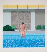 David Hockney. Peter Getting Out of Nick's Pool, 1966. Acrylic paint on canvas, 152 x 152 cm. National Museums Liverpool, Walker Art Gallery. Presented by Sir John Moores 1968. © David Hockney. Photograph: Richard Schmidt.