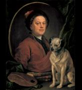 William Hogarth. <em>The painter and his pug</em>, 1745. Huile sur toile, 90 x 69.9 cm. London, Tate Britain &copy; The Tate Gallery, London.