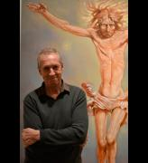 Peter Howson in front of Alpha and Omega at Flowers Gallery, London.