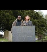 Derek Jarman. Isaac Julien and Tilda Swinton at Derek Jarman's grave. Photograph: Nina Kellgren