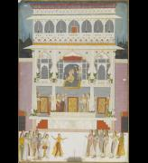 <em>Maharaja Bakhat Singh at the Jharokha Window of the Bakhat Singh Mahal</em><strong>. </strong>Attributed here to 'Artist 2'. Nagaur, 1737. Copyright © Mehrangarh Museum Trust.