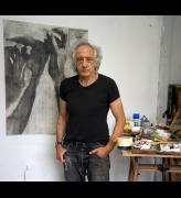 Portrait of Peter Kennard in his studio with Untitled 6 (2020), 2020. Photo: Jenny Matthews. Courtesy the artist and Richard Saltoun Gallery.