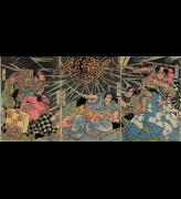 Utagawa Kuniyoshi, <em>Minamoto no Raiko and His Retainers Battle with the Earth Spider</em>, early 1820&rsquo;s.&nbsp; Colour woodblock print, Right: 14 1/2 x 10 1/8 in., Centre:14 1/2 x 10 1/8 in., Left:14 1/2 x 10 1/8 in. American Friends of The British Museum (The Arthur R. Miller Collection) 20904. Photo &copy; Trustees of The British Museum.