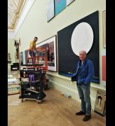 Jock McFadyen at The Royal Academy of Arts Summer Exhibition 2019 hang. Photo: Juliet Rix.