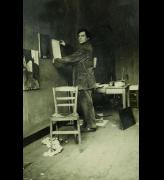 Modigliani in his studio, photograph by Paul Guillaume, c1915. © RMN-Grand Palais (musée de l'Orangerie) I Archives Alain Bouret, image Dominique Couto.