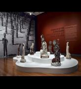 Installation shot of the exhibition Concrete Kingdom: Sculptures by Nek Chand.