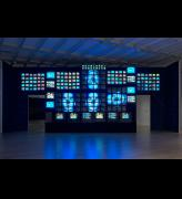 Nam June Paik. Fin de Siècle II, 1989 (partially restored, 2018). Seven-channel video installation, 207 televisions, sound, 168 × 480 × 60 in. (426.7 × 1219.2 × 152.4 cm). Installation view, Programmed: Rules, Codes, and Choreographies in Art, 1965-2018, Whitney Museum of American Art, New York, September 28, 2018-April 14, 2019). Whitney Museum of American Art, New York; gift of Laila and Thurston Twigg-Smith 93.139. © Nam June Paik Estate. Photograph: Ron Amstutz.