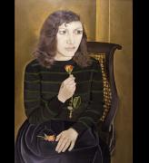 Lucian Freud.  <em>Girl with Roses</em> 1947-8. Oil on canvas, 106 x 75 cm. © The Artist. Courtesy British Council Collection