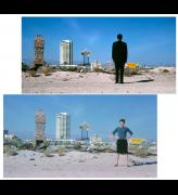 <p>Venturi, Scott Brown and Associates. <em>Robert Venturi and Denise Scott Brown in the Las Vegas desert with the strip in the background</em>, 1966.  © Venturi, Scott Brown and Associates.
