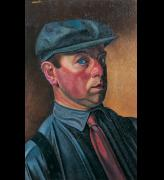 William Roberts. <em>Self-Portrait wearing a Cap</em>, 1931, oil on canvas, 51 x 36 cm, Tate, London © Estate of John David Roberts. Reproduced by permission of the William Roberts Society