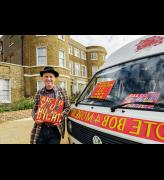 Bob and Roberta Smith with campaign van at the William Morris Gallery, London. Courtesy Bob and Roberta Smith. Photograph: Nicola Tree.