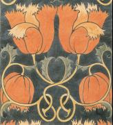 Studio International Special Centenary Number, Vol 201 No 1022/1023, page 12. Charles Francis Annesley Voysey (1857-1941), Tulips, c1888 (detail). Design for printed velveteen, 80 x 40 cm. © Studio International.