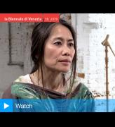 Shirley Tse speaking to Studio International at the opening of Stakeholders, Hong Kong in Venice 2019. Photo: Martin Kennedy.