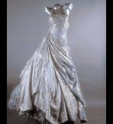Versace Spring/Summer 1994. Ballgown. Pale gray silk and metal georget.
