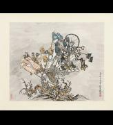 Yun-Fei Ji. The Vendors and the Wind, 2014. Ink and watercolour on Xuan paper, mounted on silk 26 1/8 x 30 3/8 in (66.3 x 77 cm). Collection of the Ruth and Elmer Wellin Museum of Art.