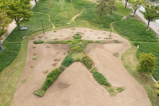 Eiki Dantsuka. Medical Herbman Cafe Project 2021, Higashida Oodoori Park. 25-metre-long, human-shaped herb garden.