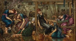 Edward Burne-Jones. The Garden Court, 1874-84. Oil on canvas, 125 x 231 cm. The Faringdon Collection Trust.