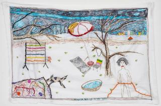 Brian Dawn Chalkley. Antonin Artaud on the beach, 2020. Pencil, felt tip and thread on cotton pillow case, 75 x 45 cm.