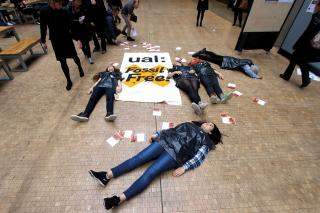 Divest UAL 'Die-in', Central Saint Martins College, London, 2015. Photograph: Georgia Brown.