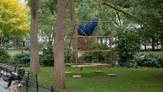 Abigail DeVille. ​Light of Freedom, 2020. Welded steel, cabling, rusted metal bell, mannequin arms, metal scaffolding, wood, 156 x 96 x 96 inches approximately. Collection the artist. Madison Square Park Conservancy, New York. Photo: Andy Romer.