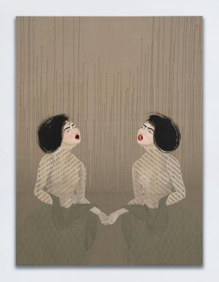Hayv Kahraman. T25 and T26, 2017. Oil on linen, 203.2 x 152.4 cm (80 x 60 in). © Hayv Kahraman. Courtesy of the artist and Jack Shainman Gallery, New York.