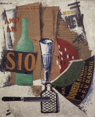 Ardent Soffici. Watermelon and Liqueurs, 1914. Mixed media and collage on card, 64.6 x 54 cm. Courtesy: Pinacoteca di Brera, Milan.