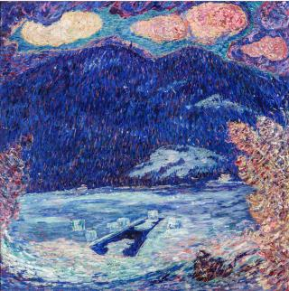 Marsden Hartley. The Ice Hole, Maine, 1908-9. Oil on canvas, 34 x 34 in (86.4 x 86.4 cm). New Orleans Museum of Art, Museum Purchase through the Ella West Freeman. Foundation Matching Fund.