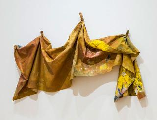 Sam Gilliam. After Micro W #2, 1982. Acrylic on polyester, 114.3 x 172 x 22.9 cm. Private collection, Europe.