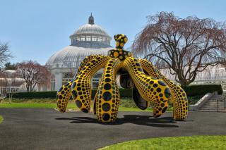 Yayoi Kusama. Dancing Pumpkin, 2020, The New York Botanical Garden. Urethane paint on bronze, 196 7/8 x 116 7/8 x 117 ¼ in (500 x 296.9 x 297.8 cm), Collection of the artist. Courtesy of Ota Fine Arts and David Zwirner. Photo: Robert Benson Photography.