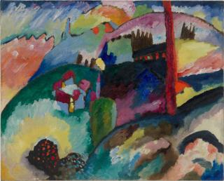 Vasily Kandinsky. Landscape with Factory Chimney (Landschaft mit Fabrikschornstein), 1910. Oil on canvas, 66 × 81.9 cm. Solomon R. Guggenheim Museum, New York, Solomon R. Guggenheim Founding Collection, By gift 41.504. © Vasily Kandinsky, VEGAP, Bilbao, 2020.