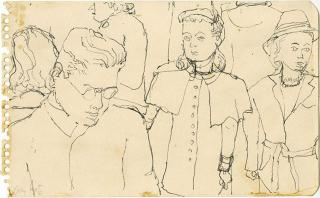 Alex Katz. Crowd on Subway, c1940s. Pen, 4 7/8 x 7 7/8 in. © Alex Katz / DACS, London / VAGA, New York. Courtesy Timothy Taylor 16×34.