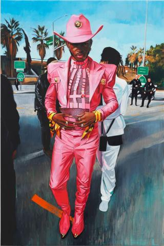 Sam McKinniss, Lil Nas X with Friends and Cops, 2021. Oil on linen, 183 x 124.5 / 72 x 49 in. © Sam McKinniss. Courtesy of the Artist and Almine Rech. Photo: Dan Bradica.
