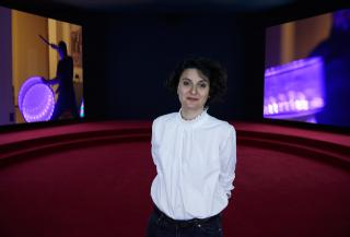 Portrait of Angelica Mesiti in her exhibition ASSEMBLY, 2019. Commissioned by the Australia Council for the Arts on the occasion of the 58th International Art