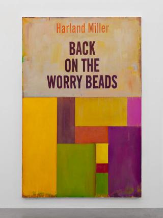 Harland Miller. Back On The Worry Beads, 2016, Oil on canvas, 276 x 183 cm. Courtesy the artist and Blain Southern. Photograph: Peter Mallet.
