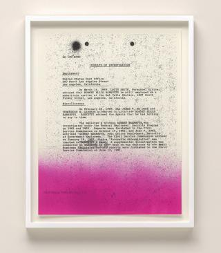Sadie Barnette. My Father's FBI File; Government Employees Installation, 2017 (detail). Five inkjet prints, edition 3/5, 22 x 17 in (55.9 x 43.2 cm) each. Solomon R. Guggenheim Museum, New York.