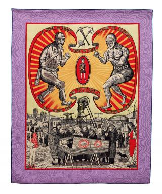 Grayson Perry. Death of a Working Hero, 2016. Tapestry. Courtesy the artist, Paragon Press and Victoria Miro, London, Photograph Stephen White © Grayson Perry.