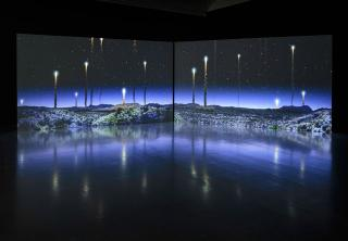 Kelly Richardson. Orion Tide, 2013-14. Dual channel HD video installation with audio. Photograph: Ruth Clark.
