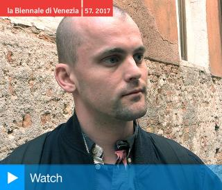 James Richards talking to Studio International at Music for the gift, Wales in Venice 2017. Photograph: Martin Kennedy.