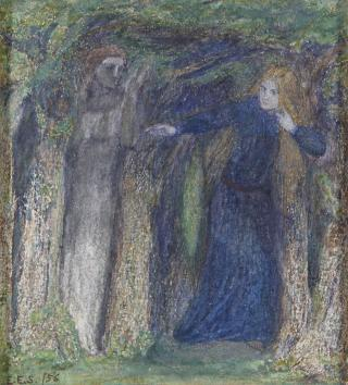 Lizzie Siddal. The Haunted Wood, 1856. Gouache on paper.